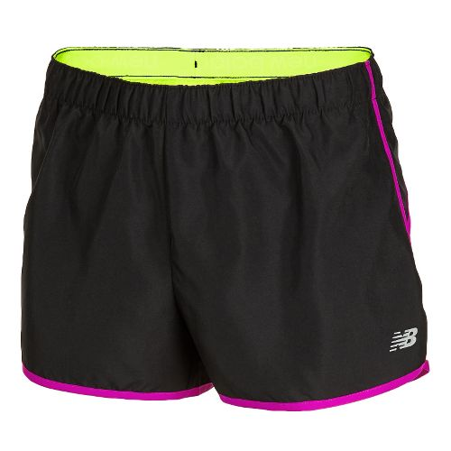 Womens New Balance Momentum Lined Shorts - Black/Poisonberry M