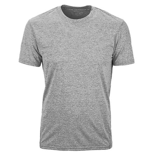 Mens New Balance Heathered Short Sleeve Technical Tops - Athletic Grey L
