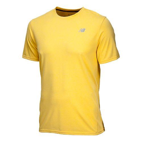 Mens New Balance Heathered Short Sleeve Technical Tops - Atomic Yellow M