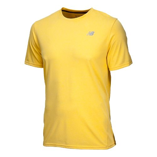 Mens New Balance Heathered Short Sleeve Technical Tops - Atomic Yellow XS