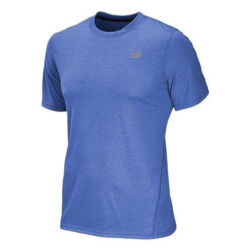 Mens New Balance Heathered Short Sleeve Technical Tops - Cobalt XXL