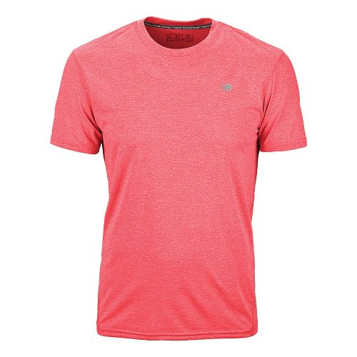 Mens New Balance Heathered Short Sleeve Technical Tops - Chinese Red L