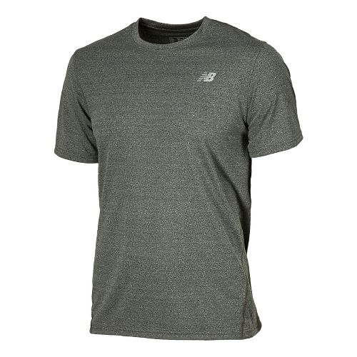 Mens New Balance Heathered Short Sleeve Technical Tops - Combat M