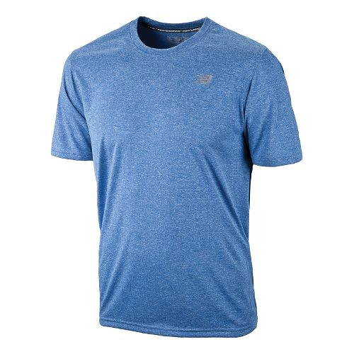 Mens New Balance Heathered Short Sleeve Technical Tops - Electric Blue S