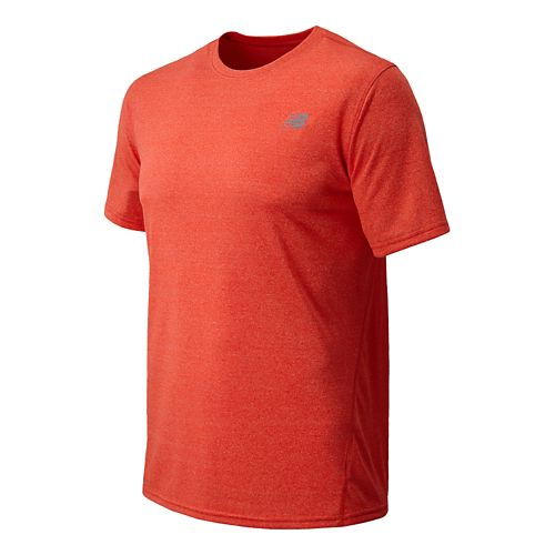 Mens New Balance Heathered Short Sleeve Technical Tops - Fire Ball XL