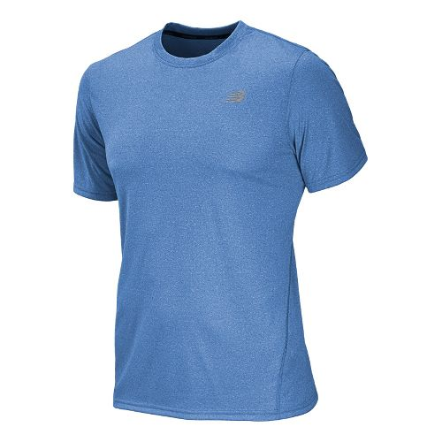 Mens New Balance Heathered Short Sleeve Technical Tops - Laser Blue S