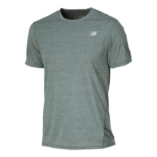 Mens New Balance Heathered Short Sleeve Technical Tops - Petrol M