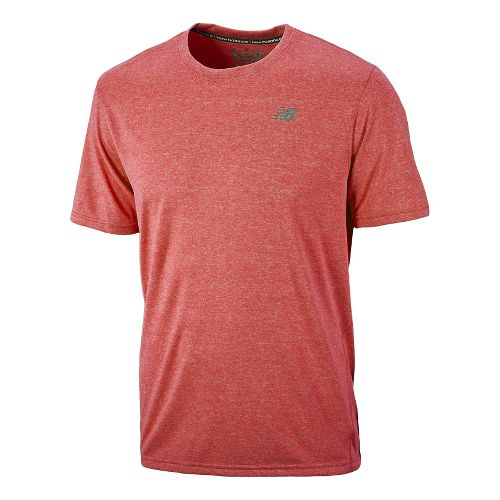 Mens New Balance Heathered Short Sleeve Technical Tops - Tango Red XL