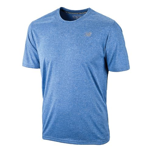 Mens New Balance Heathered Short Sleeve Technical Tops - Vision Blue XS