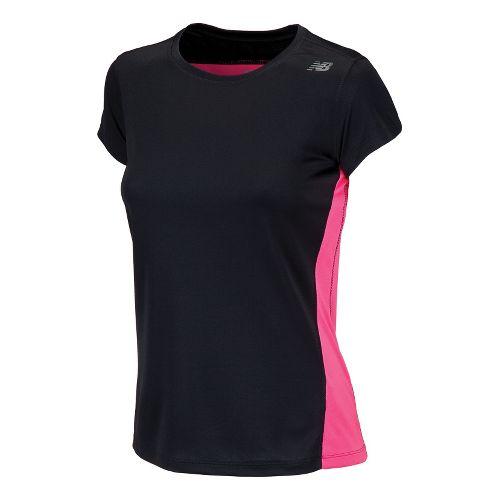 Womens New Balance Go 2 Short Sleeve Technical Tops - Black/Pink Shock XS