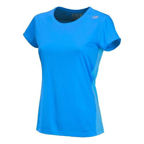 Womens New Balance Go 2 Short Sleeve Technical Tops - Blue Infinity L