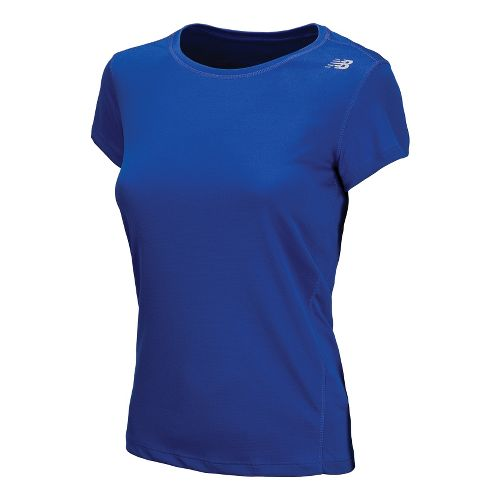 Womens New Balance Go 2 Short Sleeve Technical Tops - Dazzling Blue XS