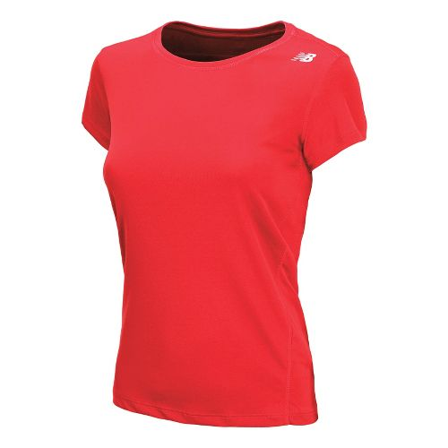 Womens New Balance Go 2 Short Sleeve Technical Tops - Fiery Coral XS