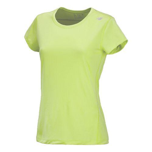 Womens New Balance Go 2 Short Sleeve Technical Tops - Sunny Lime XS