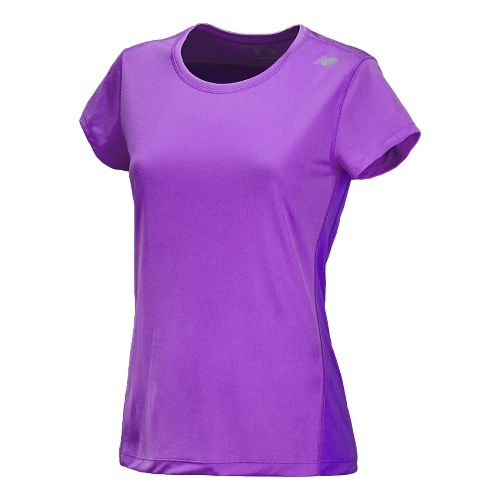 Womens New Balance Go 2 Short Sleeve Technical Tops - Violet L