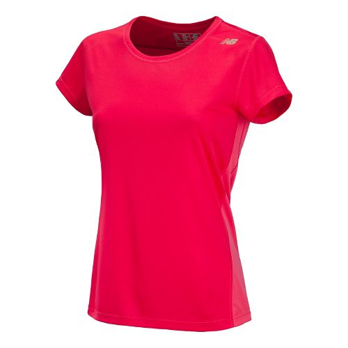 Womens New Balance Go 2 Short Sleeve Technical Tops - Watermelon/Ruby XS