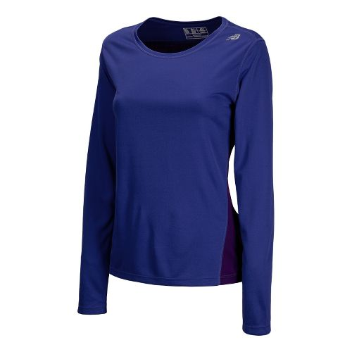 Womens New Balance Go 2 Long Sleeve No Zip Technical Tops - Acai XS