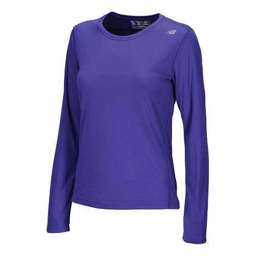 Womens New Balance Go 2 Long Sleeve No Zip Technical Tops - Azurite S