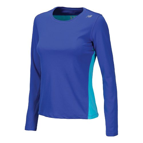 Womens New Balance Go 2 Long Sleeve No Zip Technical Tops - Blue Atoll S ...