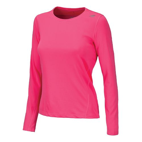 Womens New Balance Go 2 Long Sleeve No Zip Technical Tops - Pink Shock S ...