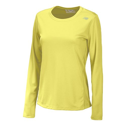 Womens New Balance Go 2 Long Sleeve No Zip Technical Tops - Sunny Lime L ...