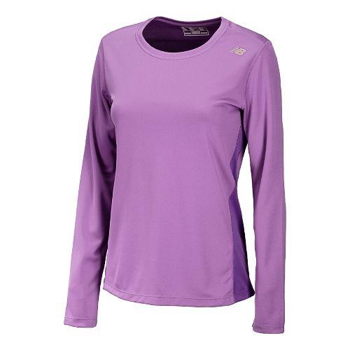 Womens New Balance Go 2 Long Sleeve No Zip Technical Tops - Violet XL