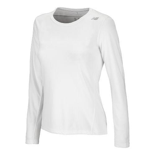 Womens New Balance Go 2 Long Sleeve No Zip Technical Tops - White XXL