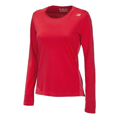 Womens New Balance Go 2 Long Sleeve No Zip Technical Tops - Watermelon/Ruby L