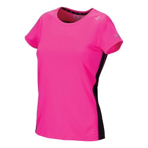 Womens New Balance Go 2 Short Sleeve Technical Tops - Black/PinkGlo S