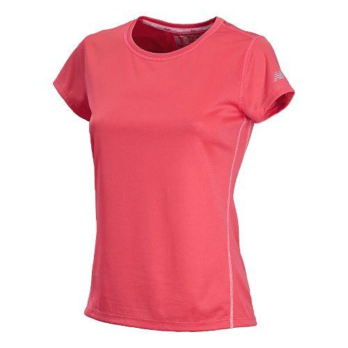 Womens New Balance Go 2 Short Sleeve Technical Tops - Watermelon/Strawberry XL