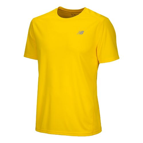 Mens New Balance Go 2 Short Sleeve Technical Tops - Atomic Yellow XS
