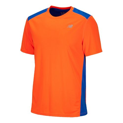 Mens New Balance Go 2 Short Sleeve Technical Tops - Cobalt Blue/Sharp Orange L