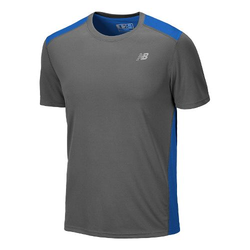 Mens New Balance Go 2 Short Sleeve Technical Tops - Magnet/Vision Blue M