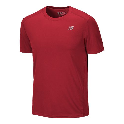 Mens New Balance Go 2 Short Sleeve Technical Tops - Tango Red XXL