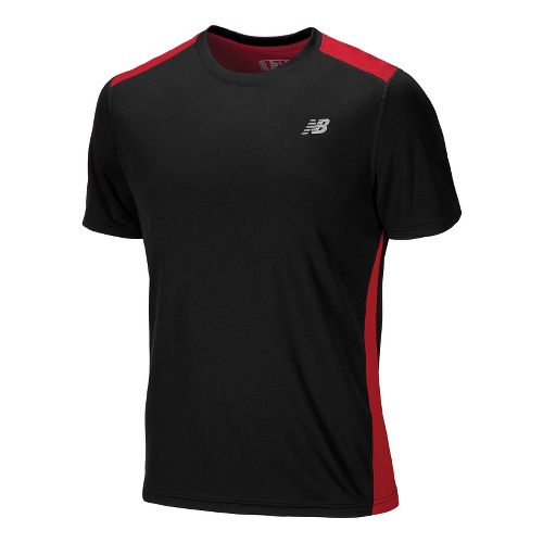 Mens New Balance Go 2 Short Sleeve Technical Tops - Tango Red/Black XS