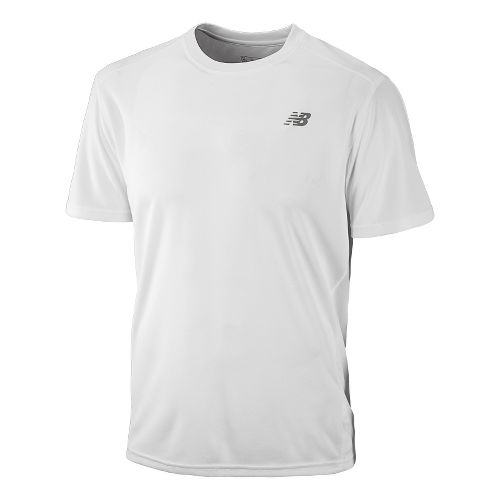 Mens New Balance Go 2 Short Sleeve Technical Tops - White XL