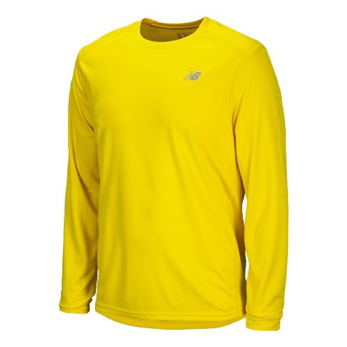 Mens New Balance Go 2 Long Sleeve No Zip Technical Tops - Atomic Yellow L ...