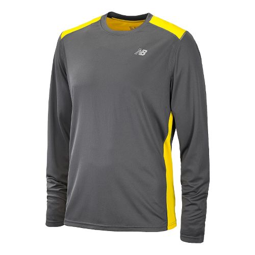 Mens New Balance Go 2 Long Sleeve No Zip Technical Tops - Atomic Yellow/Magnet M ...