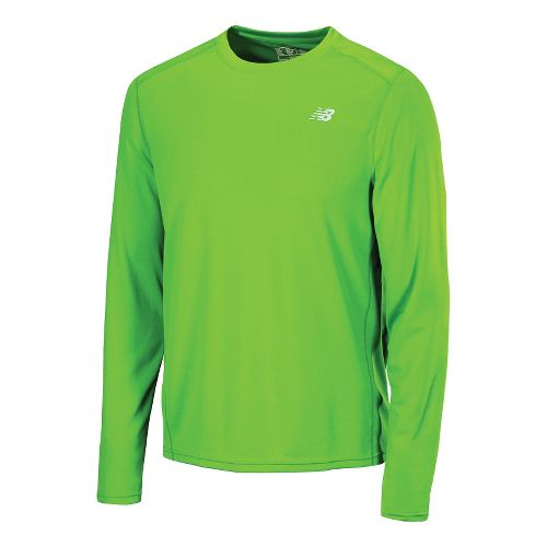 Mens New Balance Go 2 Long Sleeve No Zip Technical Tops - Green Gecko M ...