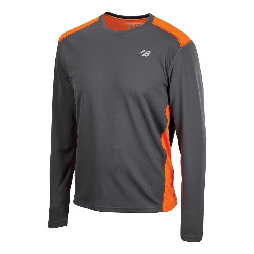 Mens New Balance Go 2 Long Sleeve No Zip Technical Tops - Orange Flash/Magnet XS ...
