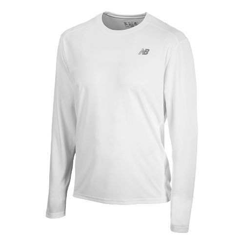 Mens New Balance Go 2 Long Sleeve No Zip Technical Tops - White XS