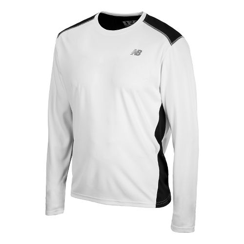 Mens New Balance Go 2 Long Sleeve No Zip Technical Tops - White/Black XXL