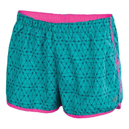 Womens New Balance Momentum Print Lined Shorts - Capri Breeze/PinkGlo S