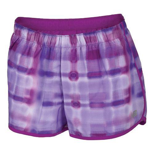 Womens New Balance Momentum Print Lined Shorts - Purple Cactus Flower XL