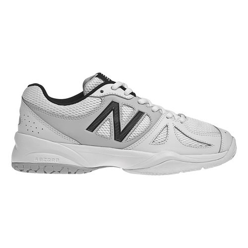 Womens New Balance 696 Court Shoe - White/Silver 7.5