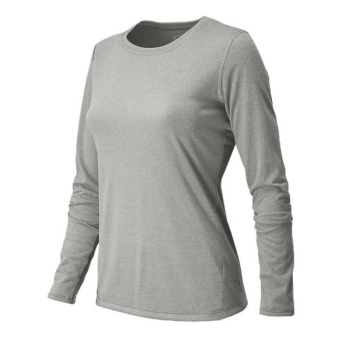 Womens New Balance Heathered Long Sleeve No Zip Technical Tops - Athletic Grey L