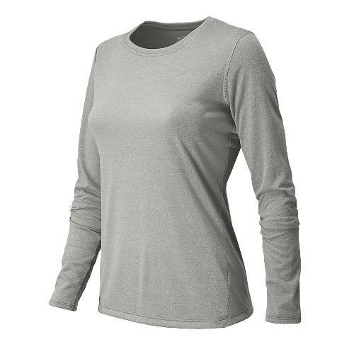 Womens New Balance Heathered Long Sleeve No Zip Technical Tops - Athletic Grey XXL