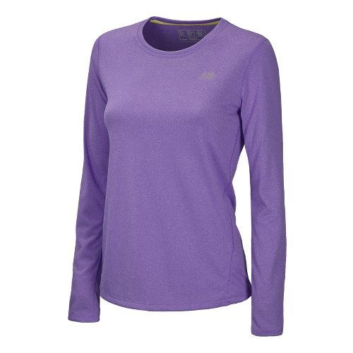 Womens New Balance Heathered Long Sleeve No Zip Technical Tops - Amethyst L