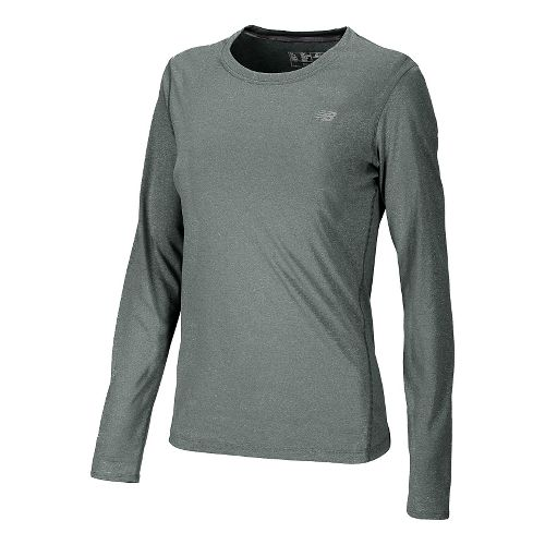 Womens New Balance Heathered Long Sleeve No Zip Technical Tops - Black L