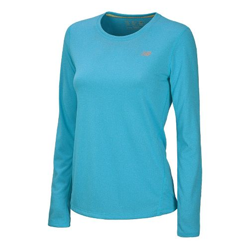 Womens New Balance Heathered Long Sleeve No Zip Technical Tops - Blue Infinity L